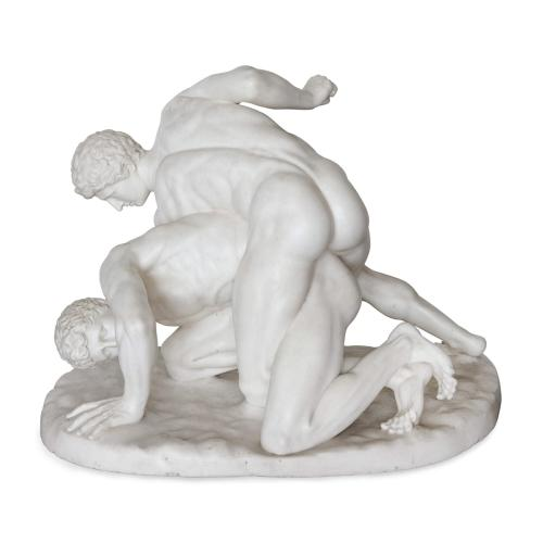 'The Wrestlers', large classical marble group by Battiglia