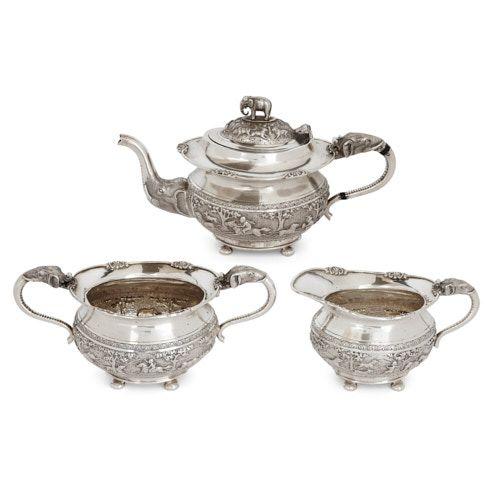 Bangalore silver three-piece tea set by Krishniah Chetty