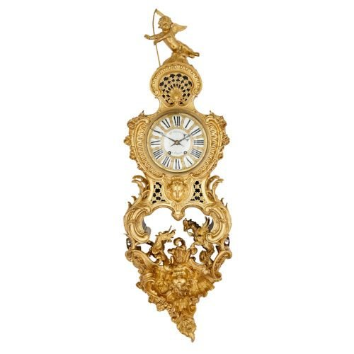 Large ormolu cartel clock with Chinoiserie details by Dasson