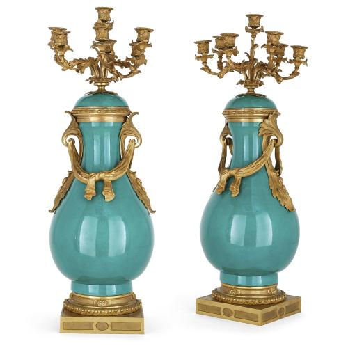 Pair of large ormolu and Sèvres style porcelain candelabra