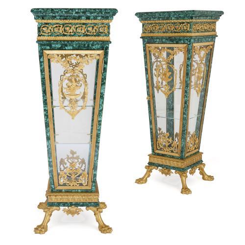 Pair of ormolu mounted malachite vitrine pedestals