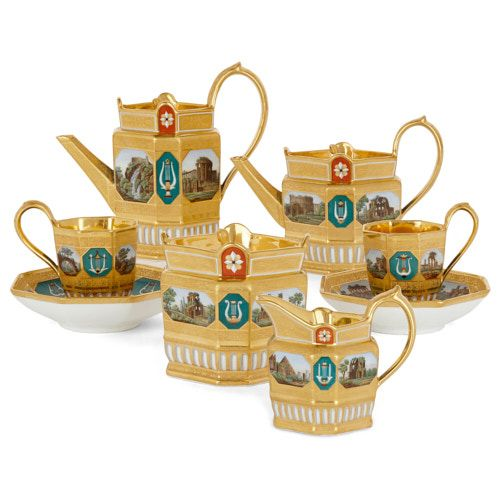 Exceptional KPM porcelain 'micro-mosaic' tea and coffee service