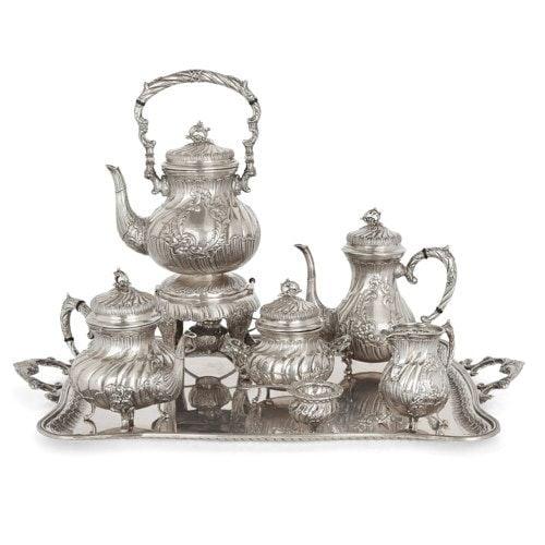 Seven-piece Spanish silver Rococo style tea and coffee set