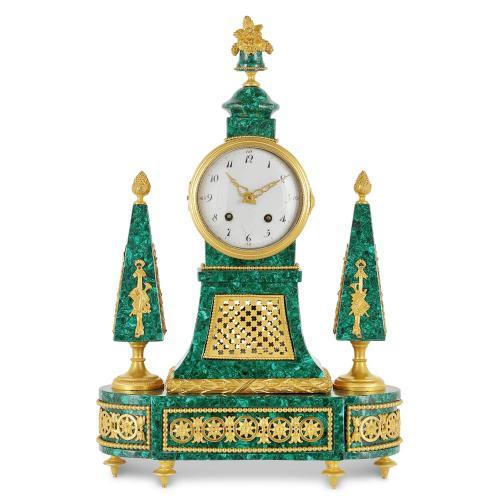 Ormolu and malachite Louis XVI period mantel clock