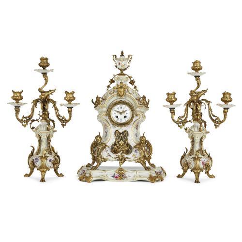 Ormolu mounted porcelain three-piece clock set by KPM