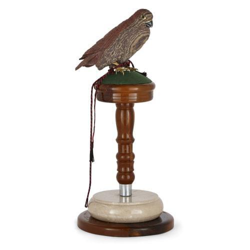 Silver-gilt and zebra stone model of a falcon