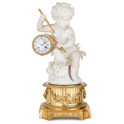 Marble mantel clock by Festeau Le Jeune and Raingo Frères