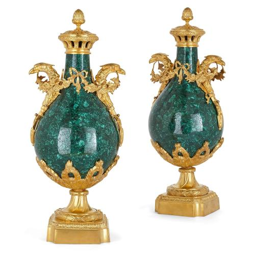 Pair of Empire style ormolu and malachite eagle-handle vases