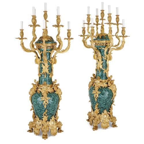 Pair of Louis XV style ormolu mounted malachite candelabra