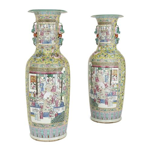 Pair of large Chinese Canton famille jaune porcelain vases