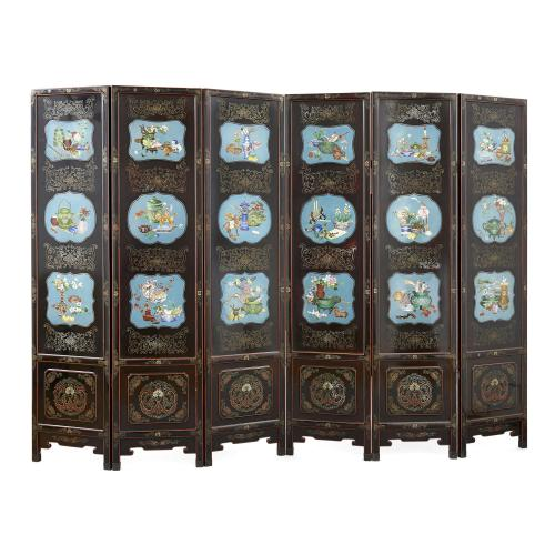 Large Chinese cloisonné enamel mounted lacquered screen