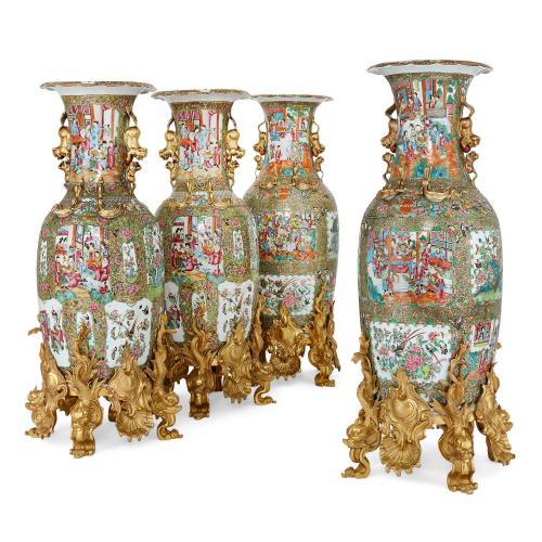 Set of four Chinese Canton famille verte porcelain vases