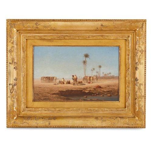 'Desert Caravan', Orientalist oil painting by Frère
