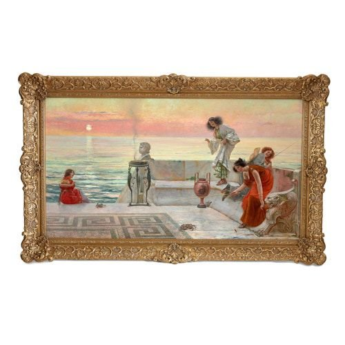 'Catching Crabs', large Italian oil painting by Vasarri