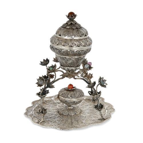 Antique Ottoman Turkish silver filigree sweets dish