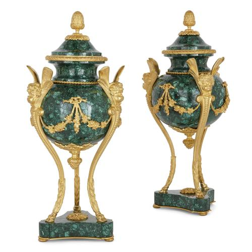 Pair of Neoclassical style ormolu and malachite cassolettes