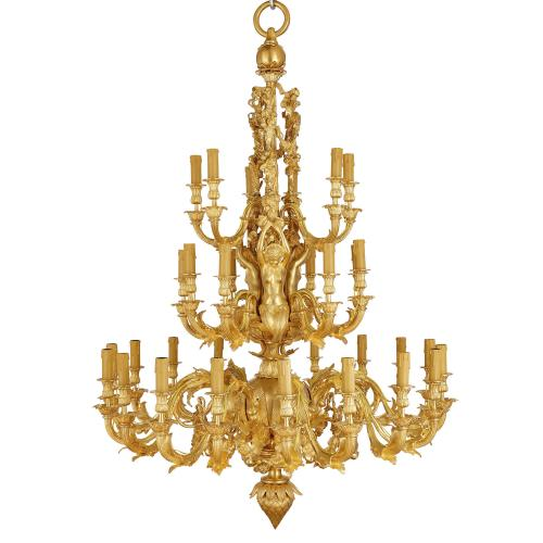Large French Rococo style thirty-three light ormolu chandelier