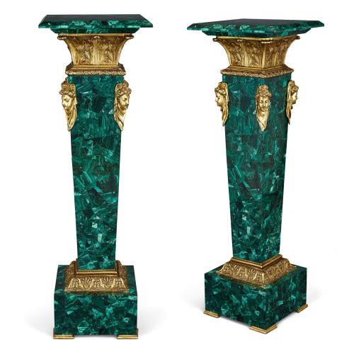 Pair of Louis XVI style ormolu and malachite pedestals