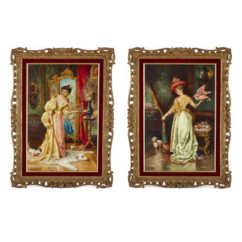 Pair of Austrian interior genre paintings by Zatzka