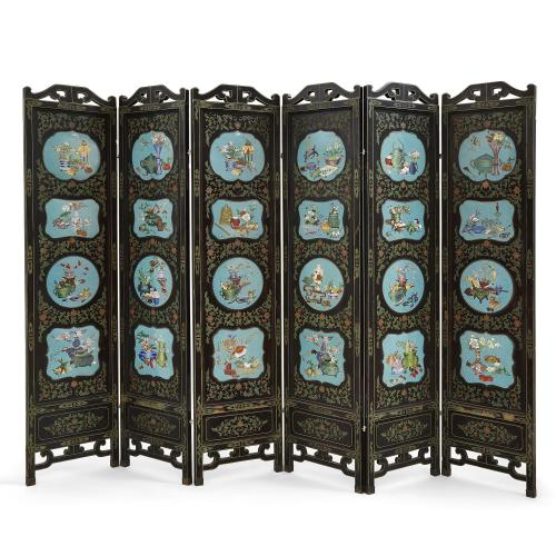 Large Chinese lacquered screen inset with cloisonné enamel panels