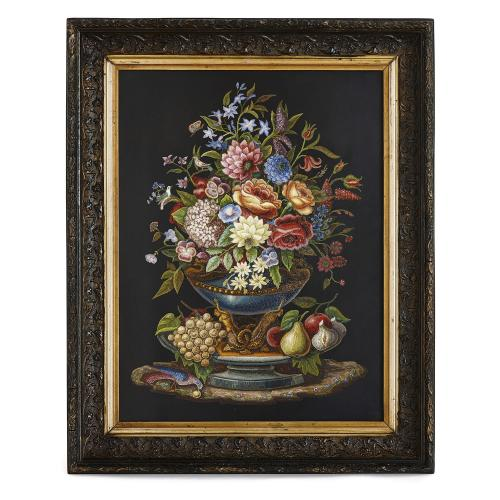 Large Roman floral micromosaic by the Vatican Mosaic Studio