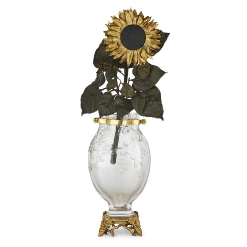 Large crystal and patinated metal sunflower clock by Baccarat