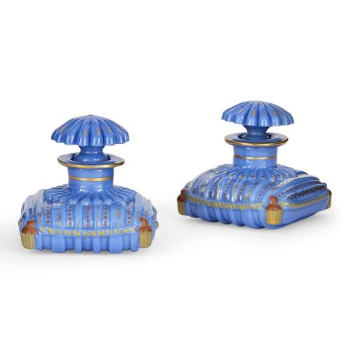 Pair of French blue opaline glass cushion-form bottles