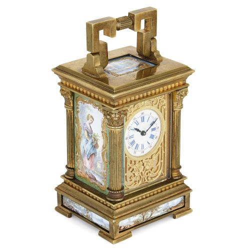 French ormolu and enamel miniature carriage clock