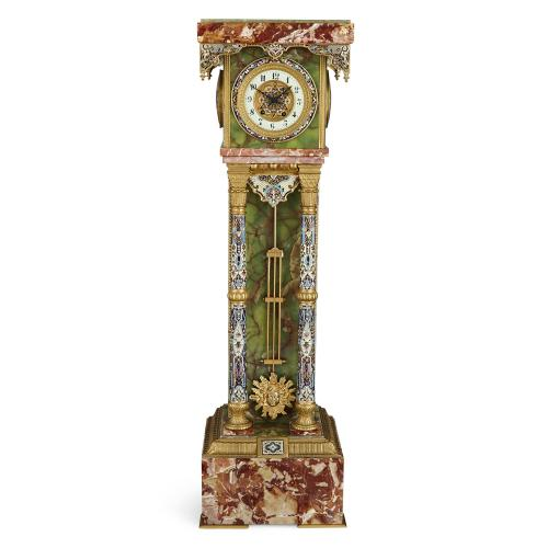 Ormolu and champlevé enamel mounted onyx pedestal clock by Guilmet