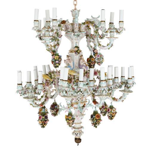 Large Meissen porcelain flower-encrusted 36-light chandelier