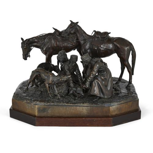 Russian patinated bronze wolf hunt group after Lieberich