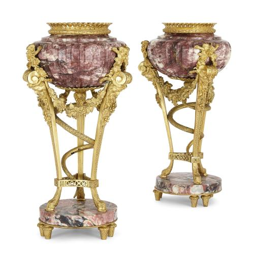Pair of ormolu mounted marble cassolettes after Gouthière