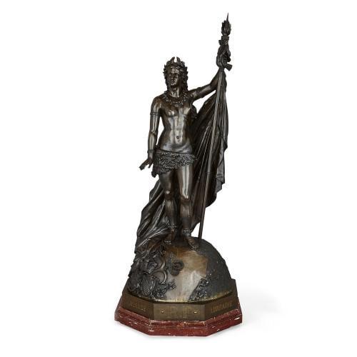 'République Française', large patinated bronze sculpture by Bertin