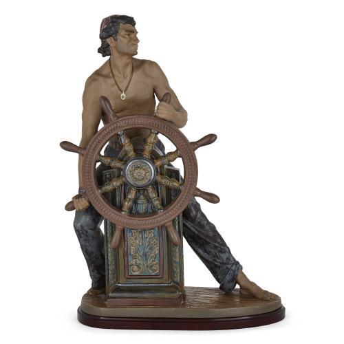 Spanish ceramic sculpture of a seafarer by Lladró
