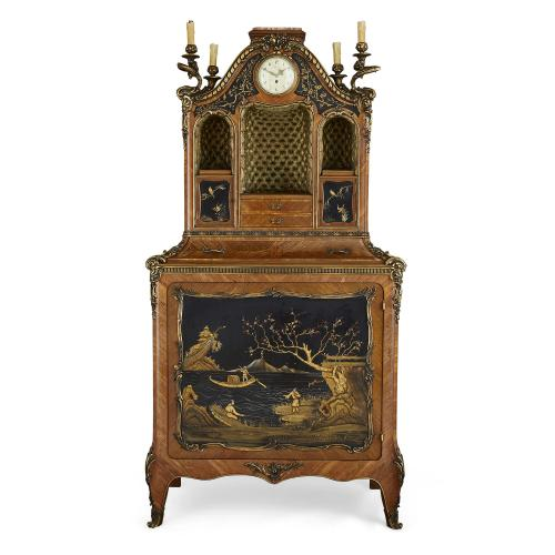Ormolu mounted japanned lacquer display cabinet by Rosel