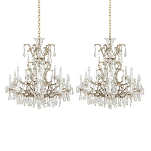 Pair of Bohemian cut glass and metal chandeliers