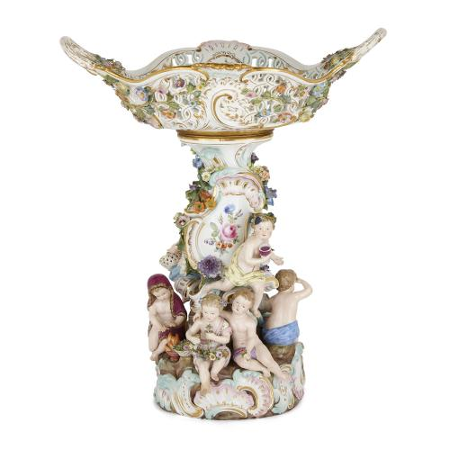 Large Meissen porcelain Rococo style centrepiece bowl