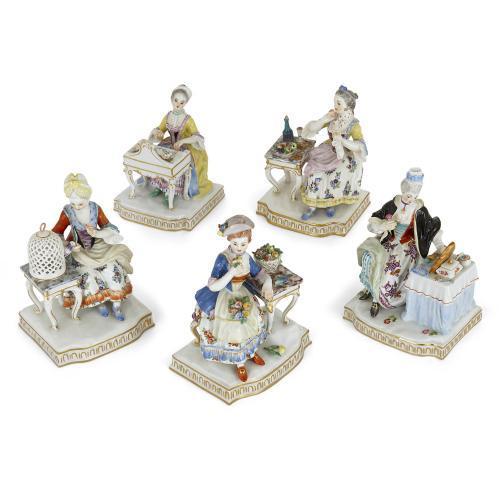 Set of five Meissen porcelain groups depicting the senses