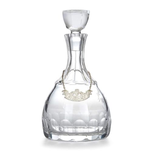 Silver mounted cut and engraved glass sherry decanter