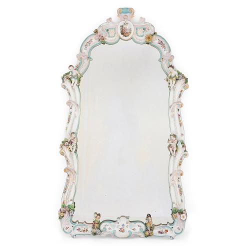 Large German Rococo style Dresden porcelain mirror