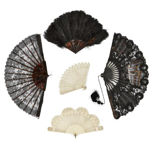 Collection of five European ivory, tortoiseshell, and lace fans