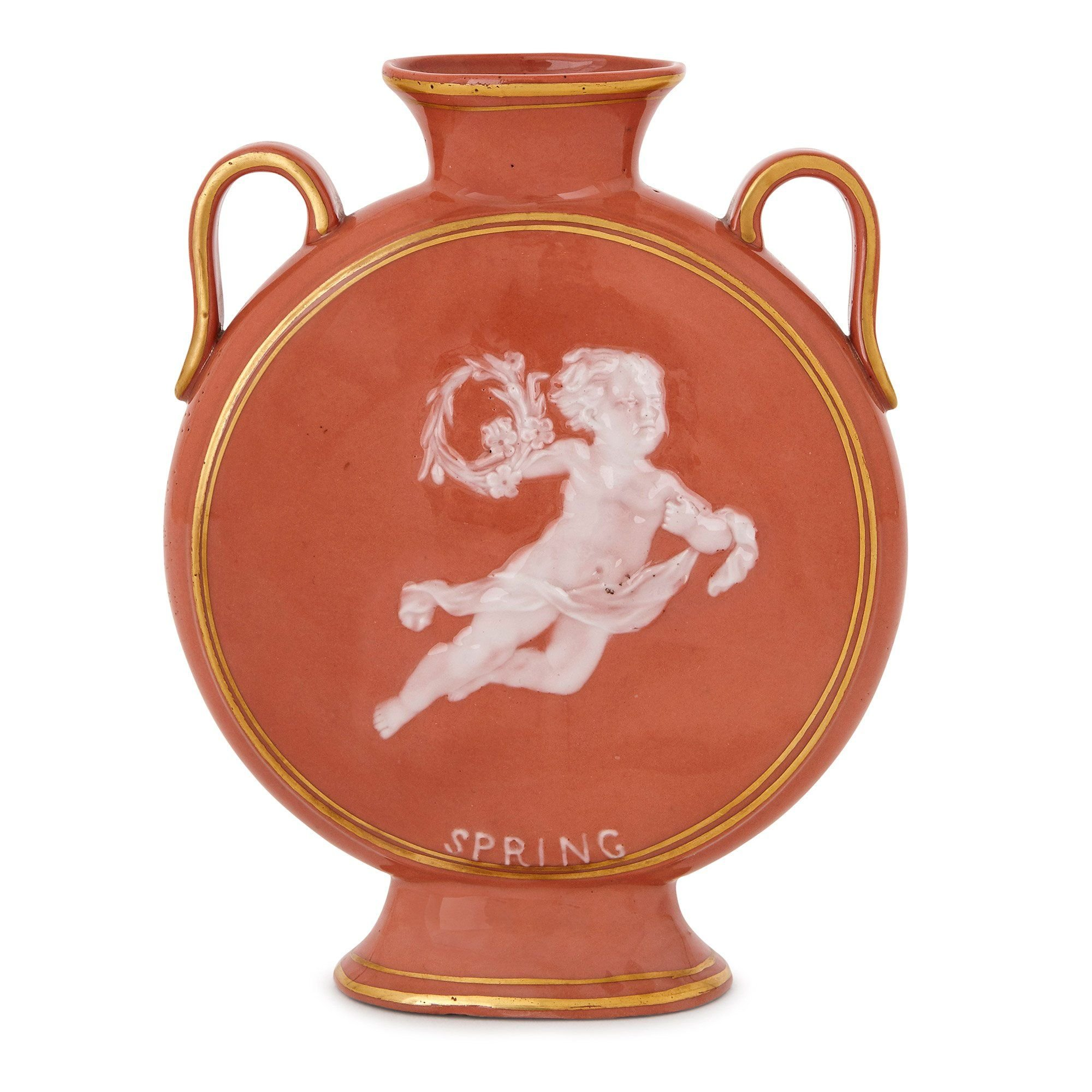 Antique porcelain pate-sur-pate moon vase with cherub | Mayfair Gallery