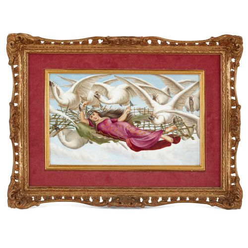'Maiden of the Swans', English porcelain plaque