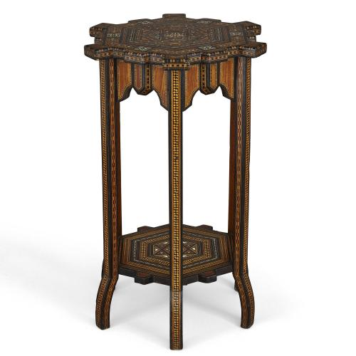 Syrian mother of pearl and marquetry inlaid hexagonal side table