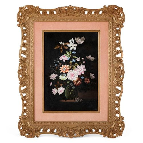 English painted porcelain plaque portraying a floral still life