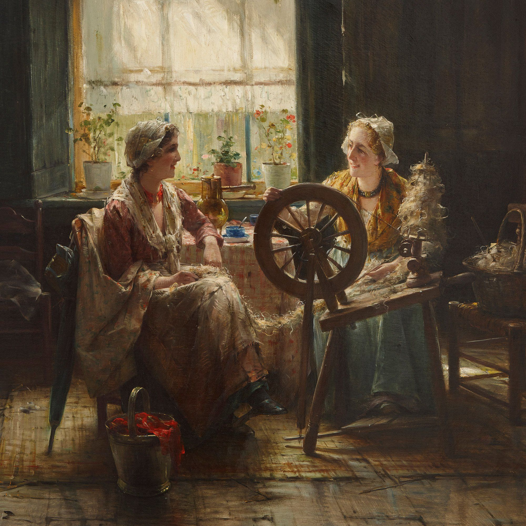 Spinning The Wool Oil Painting By Edward Portielje