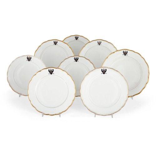 Set of eight Russian Kornilov porcelain Naval Ministry plates