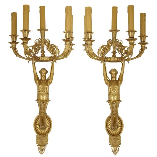 Pair of large ormolu Empire style wall lights
