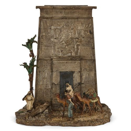 Orientalist cold-painted bronze letterbox by Bergman