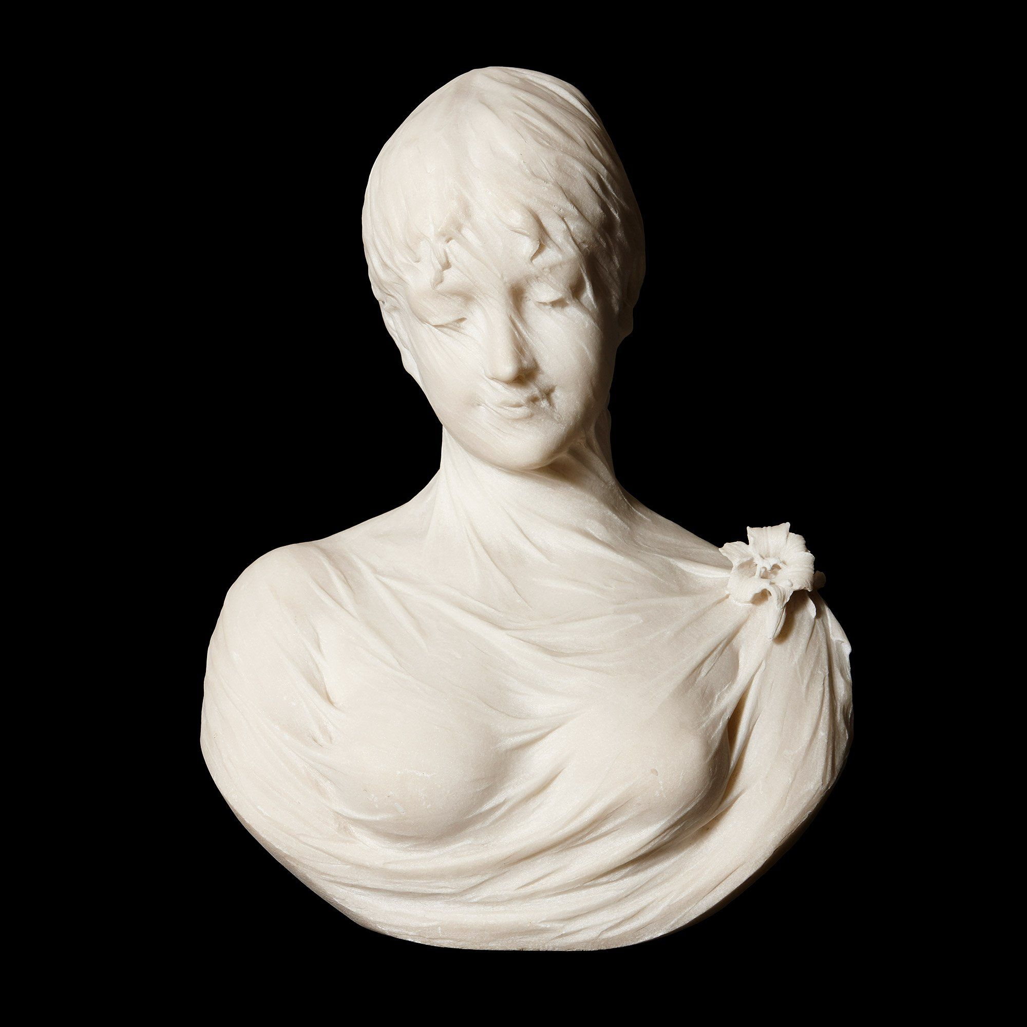 Antique Italian Marble Bust Of A Veiled Lady By Lapini